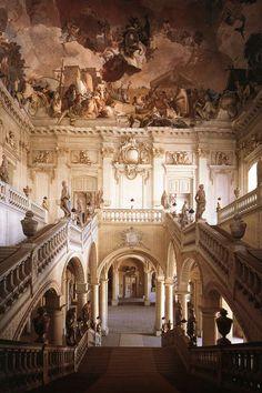 Johann Balthasar Neumann staircase Residence of Würzburg frescoes by Tiepolo