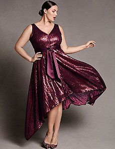 Plus size designer Sequin dress with sash by Isabel Toledo--Lane Bryant Plus Size Sequin Dresses, Formal Dresses With Sleeves, Trendy Plus Size Clothing, Plus Size Outfits, Plus Size Fashion, Isabel Toledo, Silvester Outfit, Outfit Trends, Curvy Girl Fashion