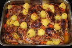 Fűszeres sült csirke zöldségekkel recept French Toast, Bacon, Chicken, Meat, Cooking, Breakfast, Food, Cucina, Breakfast Cafe