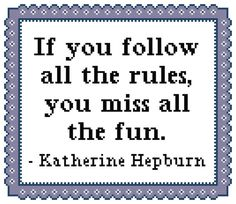 If You Follow All the Rules Cross Stitch by ChristinesCornerSSC, $4.00