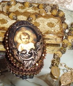 Mary rose garden bead embroidery pendant necklace and earrings Sacred Jewelry Pamelia Designs Artisan Jewelry  WHOLESALE