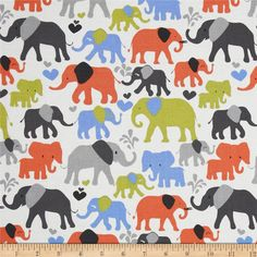 Michael Miller It's A Boy Thing Elephant Walk Sky Blue from @fabricdotcom  Designed by Michael Miller, this cotton print fabric is perfect for quilting, craft projects, apparel and home décor accents. Colors include black, grey, periwinkle blue, orange and lime on a white background.