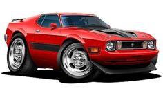 Muscle Trucks Cartoon Drawings | ... about 1973 Ford Mustang Mach 1 Muscle Car Art Cartoon Tshirt NEW