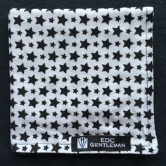 Handkerchief, White with Black Stars print and Solid Black Reversible, 100% Cotton Hank, EDC everyday carry by EDCGentleman on Etsy