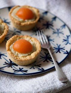 adorable cream of coconut and apricot tarts that look like little eggs