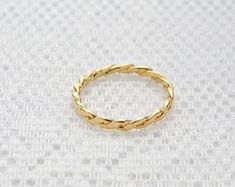 Twisted gold ring stacking ring skinny thin gold filled ring simple gold ring everyday dainty jewelry.