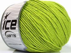 Bahar - Yaz İplikleri Yazlık İplikler Pamuk Bambu Natural Yarn Double Knitting Yeşil  İçerik 60% Bambu 40% Pamuk Brand Ice Yarns Green fnt2-50542 Ice Yarns, Bamboo Light, Bright Green, Fiber, Cotton, Low Fiber Foods