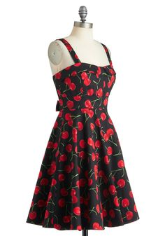 Pull Up a Cherry Dress in Black | Mod Retro Vintage Dresses | ModCloth.com
