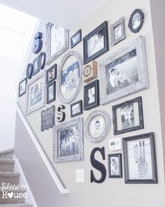 12 Goodwill Shopping Secrets Revealed Blesser House Black and grey gallery wall Family Pictures On Wall, Wall Decor Pictures, Family Picture Walls, Pictures On Stairs, Family Wall Collage, Family Tree Photo, Picture Arrangements, Stair Walls, Photo Deco