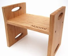 Personalized Modern Kids Step Stool - organic Cherry stool with carrying handles via Etsy.