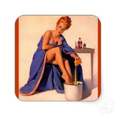 Vintage Retro Gil Elvgren Foot Spa Pin Up Girl Sticker