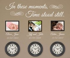 In These Moments Time Stood Still * Personalized Wall Decal * Family Wall Decal * Clock Wall Decal * Vinyl Lettering * Custom Wall Decal Personalized Wall Decals, Time Stood Still, Vinyl Wall Decals, Wall Sticker, Interiores Design, Family Photos, Photo Art, Gallery Wall, Wall Decor