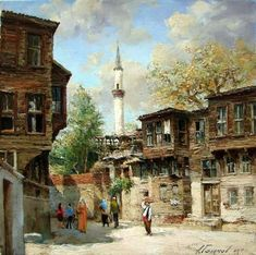 Street of old Istanbul in the area Fattah. Istanbul, Great Paintings, Beautiful Paintings, Art With Meaning, Pics Art, Turkish Art, Marble Art, Architecture Old, Classical Art
