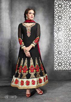 BEAUTIFUL SALWAR KAMEEZ GEORGETTE BLACK ANARKALI SUIT. Salwar Kameez Semi Stitched Max-42 Georgette Embroidered Black Anarkali Suit