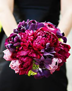 WeddingChannel Galleries: Pink Peony and Purple Tulip Bouquet