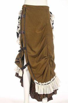 RQ-BL-Rock-Steampunk-Victorian-Gothic-Tornuere-Skirt-Maxi-Vintage-SP083-Khaki-E