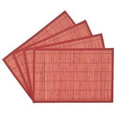 Benson Mills Bali Bamboo Placemats 12-inch X 18-inch, Brick, Set Of 4 Model 3645…