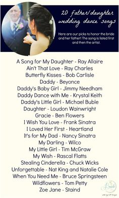 Here's a fun listing of 20 father/daughter dance song ideas!  20 Father Daughter Dance Song Ideas Wedding Song List, Wedding Dance Songs, Wedding Playlist, Wedding Blog, Wedding Ideas, Wedding Photos, Dream Wedding, Wedding 2017, Wedding Dj