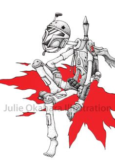 Fett by Julie Okahara  5.5x8.5 inch Art Print.  printed on 80lb via pure white matt.  signed, numbered, and stamped by the artist.  limited 50 prints  (I have the original! ^_^)