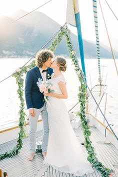 Yacht wedding with nautical sailboat wedding details