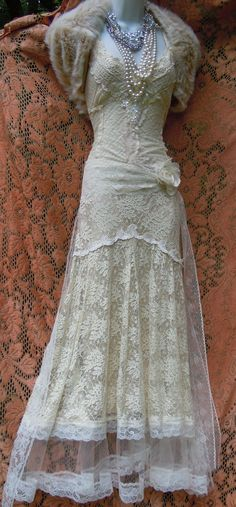 Flapper wedding dress cream vintage lace tulle bride boho outdoor romantic small by vintage opulence on Etsy