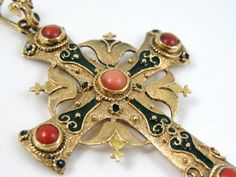 Stunning 18k Gold Coral and Enamel Ornate Cross by MSJewelers