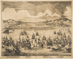 Jan Luyken Sea Battle between Dutch, Spanish, and French Fleets at Sicily Dutch Netherlands, Gravure, Holland, Sailing, Vintage World Maps, Battle, French, Drawings, Painted Canvas