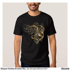 Elegant Golden B Letter Man t-shirt