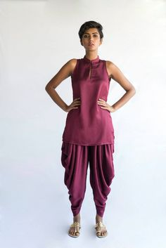 Dhoti pants and kurta from Akuri by Puri - I'd wear this with a long jacket in cream or gold. Indian Attire, Indian Wear, Shalwar Kameez, Long Jackets, Punjabi Suits, Indian Designer Wear, Suits For Women, Peplum, Victorian Era