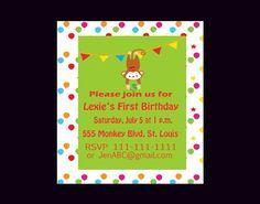 Monkey Birthday Invitation Monkey Birthday by DigitalDesignsByDawn