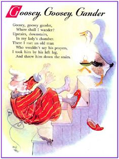 """Goosey Goosey Gander"" A Mother Goose Nursery Rhyme Nursery Rhymes Lyrics, Old Nursery Rhymes, Rhymes For Kids, Children Rhymes, Nursery Rhythm, Nursery Rymes, Pomes, Kids Poems, Rhymes Songs"
