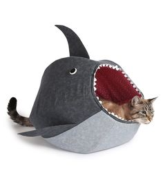 Cats often surprise their owners with their fearlessness—jumping onto high countertops, scaling tall objects, and darting after bright lights. So if you want a bed that shows off your feline friend's daring side, look no further than this shark-shaped bed (the ultimate test of how daring they really are).