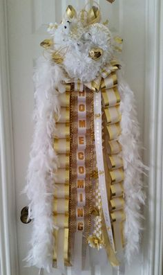 Gold and White Triple Senior Homecoming Mum with Lights