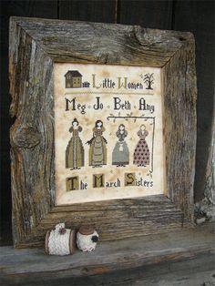 Primitive cross stitch pattern Little Women by ThePrimitiveHare, $14.30