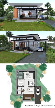 Affordable Two-bedroom Modern Bungalow for those who are on a Tight Budget - Ideen finanzieren Modern Bungalow House Design, Modern Small House Design, Simple House Design, Bungalow House Plans, Minimalist House Design, Modern Bungalow Exterior, Bungalow Designs, Modern Tropical House, Tropical House Design