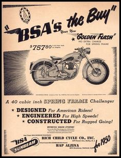 things from the images - Yahoo Search Results Bsa Motorcycle, Motorcycle Posters, Motorcycle Memes, Classic Motorcycle, Vintage Advertisements, Vintage Ads, Vintage Posters, British Motorcycles, Vintage Motorcycles