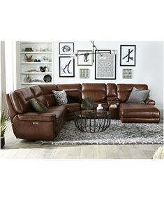 Mancave/Manhouse Furniture Myars Leather Power Reclining Sectional Collection, Created for Macy's & Tan Sofa, Brown Leather Couch Living Room, Living Room Grey, Living Room Decor Dark Brown Couch, Decor With Brown Couch, Brown Leather Couches, Brown Sectional Decor, Leather Living Room Furniture, Grey Leather