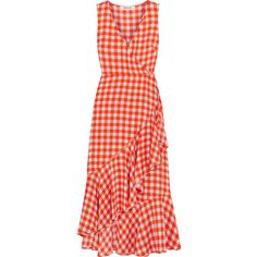 Diane von Furstenberg Ruffled gingham stretch-silk wrap-effect midi... (34.710 RUB) ❤ liked on Polyvore featuring dresses, red, ruffle midi dress, red wrap dress, diane von furstenberg dress, ruffle dress and gingham dress