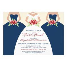 Bride  Bridesmaids Bridal Brunch Invite (navy)
