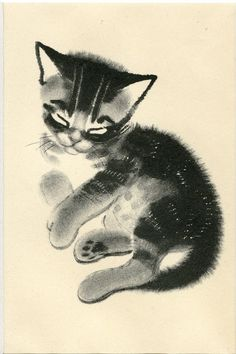 Matted Kitten Print by Clare Turlay Newberry C. 1943 Vintage Decor Sketch Illustration