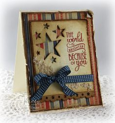 Patriotic card by Julee Tilman using Let it Be and Starry Die from Verve Stamps. #vervestamps