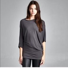 HP semi loose asymmetrical top Grey small Lewboutiquetwo Tops