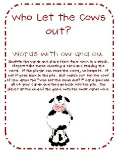 Who Let the Cows Out?! Sight Word Card Game (Words with ou and ow)) - Mrs. Seymour's Super Stars - TeachersPayTeachers.com