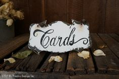 CARDS Sign, Self Standing Petite Sign, Hanging Capability, Vintage WEDDING CARD Sign, Wedding Sign