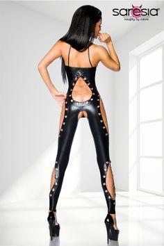 sexy Wetlook-Overall ouvert mit Ösen und Ketten-extravagant-dessous