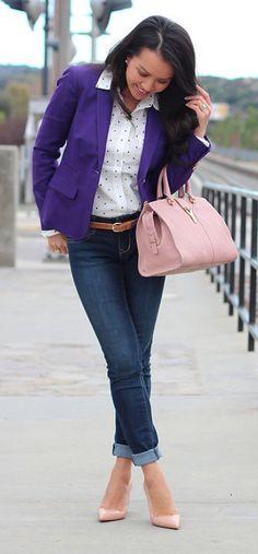 Jeans, polka dot shirt, purple blazer, pink bag, blush patent pumps ☑️