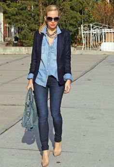 Denim shirt and cardigan... That's a lot of blues together, but it works... except those shoes would have to go. They look pinchy.