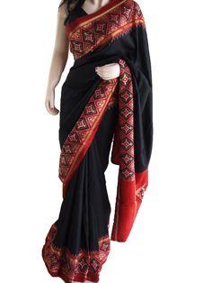 Black & Maroon  Patola Border Pure Silk Saree