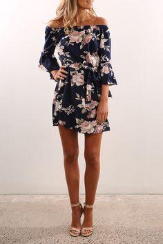 Off Shoulder Slash Neck Summer Floral Print Beach Dress - FashionandLove.com