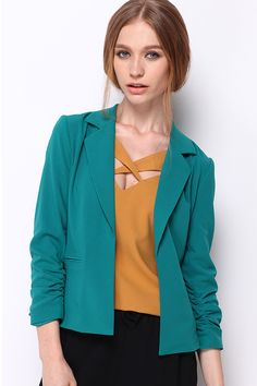 Light Teal Open Front 3/4 Sleeve Blazer